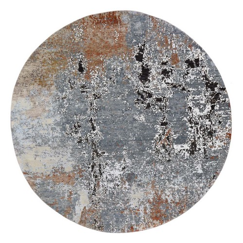 Gray Round Abstract Design Wool And Silk Hand Knotted Oriental