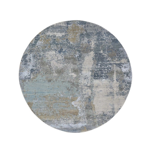 Gray Round Abstract Design Wool and Silk Hi-Low Pile Denser Weave Hand Knotted Oriental Rug