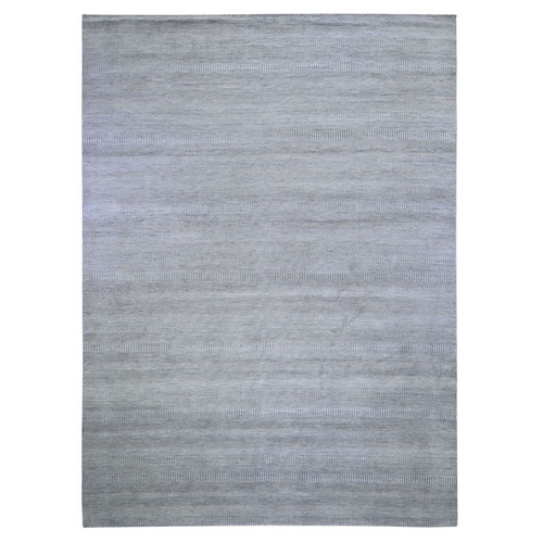 Gray Grass Design Wool And Silk Hand Knotted Oriental Rug