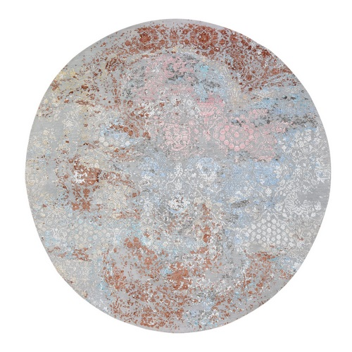 Pastels Transitional Design Wool And Silk Hi-Low Pile Denser Weave Round Hand Knotted Oriental Rug