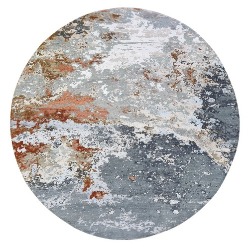 Gray Round Abstract Design Wool And Silk Hand Knotted Oriental Rug