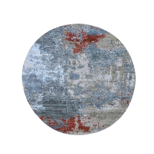 Round Abstract Design Wool And Silk Hand Knotted Oriental Rug