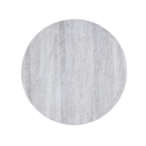 Gray Round Grass Design Wool And Silk Hand Knotted Oriental Rug