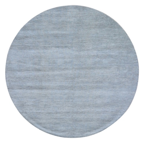 Gray Grass Design Wool And Silk Round Hand Knotted Oriental