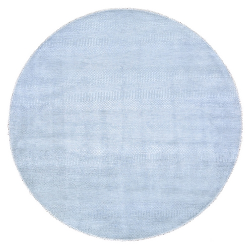 Gray Round Grass Design Pure Wool Hand Knotted Oriental Rug
