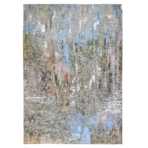 Colorful Abstract Wool And Silk Hand Knotted Oriental Rug