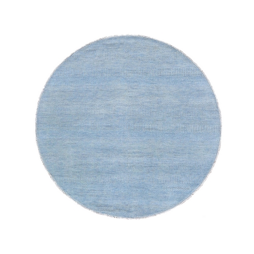 Blue Grass Design Wool and Silk Round Hand Knotted Oriental