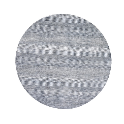 Navy Blue Wool and Silk Grass Design Hand Knotted Round Oriental Rug