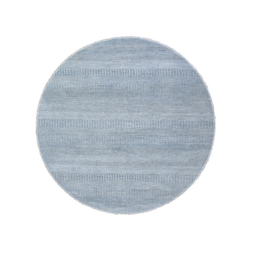 Gray Grass Design Wool and Silk Hand Knotted Round Oriental