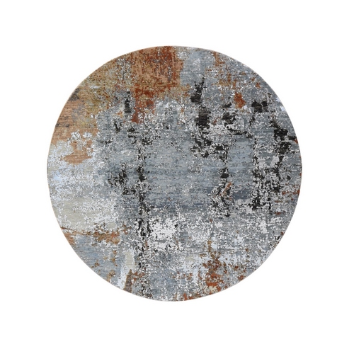 Gray Denser Weave Round Wool and Silk Abstract Design Hand Knotted Oriental Rug