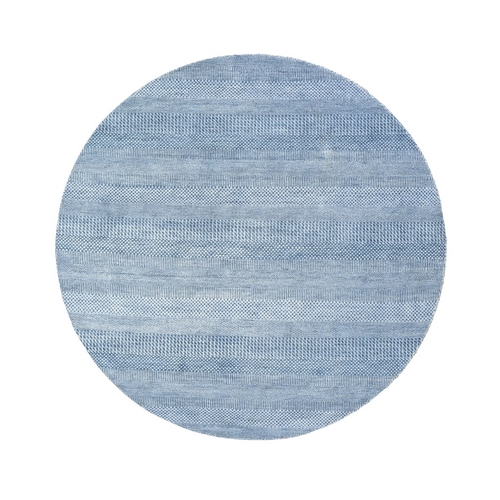 Blue Grass Design Wool and Silk Hand Knotted Round Oriental