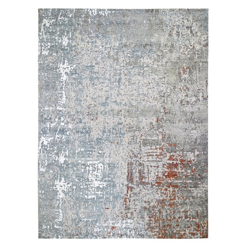 Terracotta Abstract Design Wool and Silk Hi-Low Pile Denser Weave Hand Knotted Oriental Rug