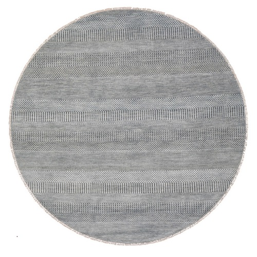 Gray Wool and Silk Grass Design Hand Knotted Round Oriental