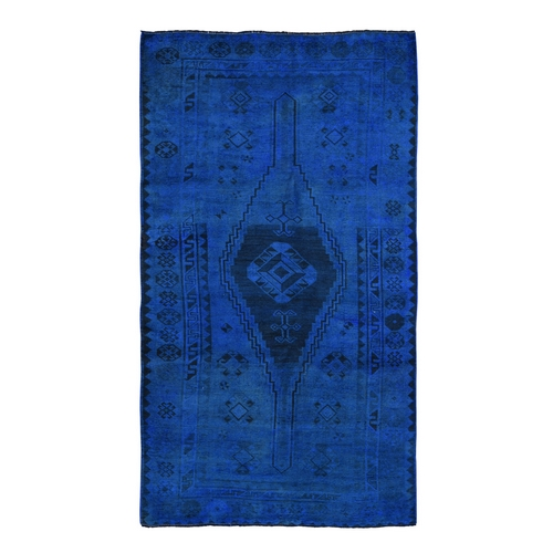 Blue Gallery Size Overdyed Persian Shiraz Worn Down Hand Knotted Oriental
