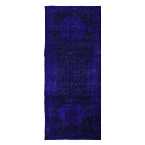 Gallery Size Blue Overdyed Persian Malayer Pure Wool Hand Knotted Oriental