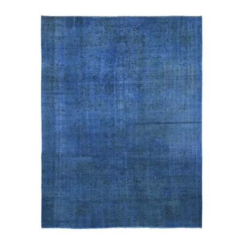 Blue Overdyed Persian Esfahan Pure Wool Hand Knotted Oriental