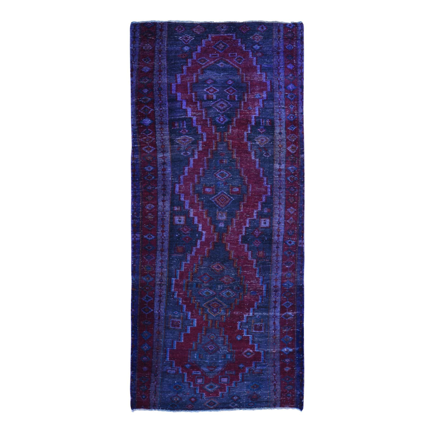 Gallery Size Overdyed Persian Hamadan Worn Wool Hand Knotted Oriental Rug