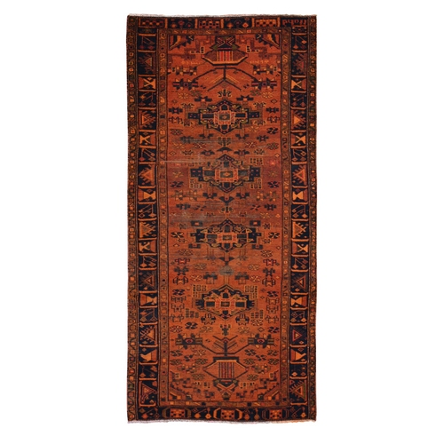 Wide Runner Orange Overdyed Hamadan Worn Wool Hand knotted Oriental