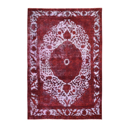 Red Overdyed Persian Tabriz Worn Wool Hand Knotted Oriental