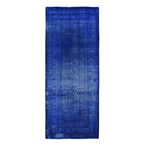 Blue Wide Runner Worn Overdyed Persian Sarouk Mir Hand Knotted Oriental