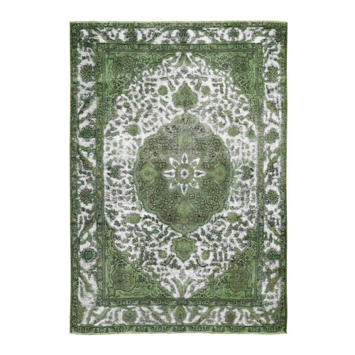 Pistachio Green Overdyed Persian Tabriz Barjasta Worn Wool Hand Knotted Oriental
