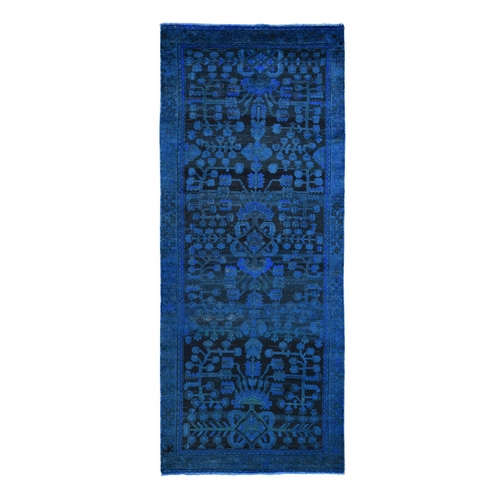 Wide Runner Blue Overdyed Persian Lilihan Worn Wool Hand Knotted Oriental
