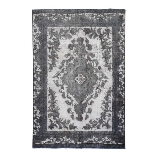 Overdyed Silver Persian Tabriz Barjasta Hand Knotted Vintage Rug
