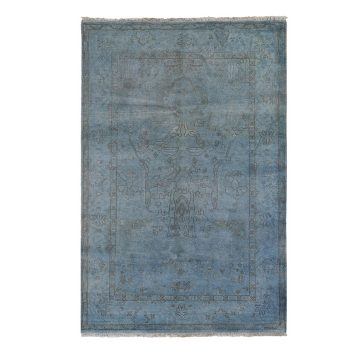 Blue Overdyed Oushak Hand Knotted Pure Wool Oriental Rug