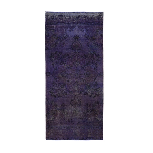 Purple Worn Down Overdyed Persian Tabriz Wide Runner Hand Knotted Oriental