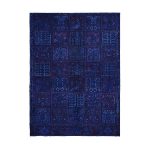 Blue Semi Antique Overdyed Persian Bakhtiari Hand Knotted Worn Down Oriental