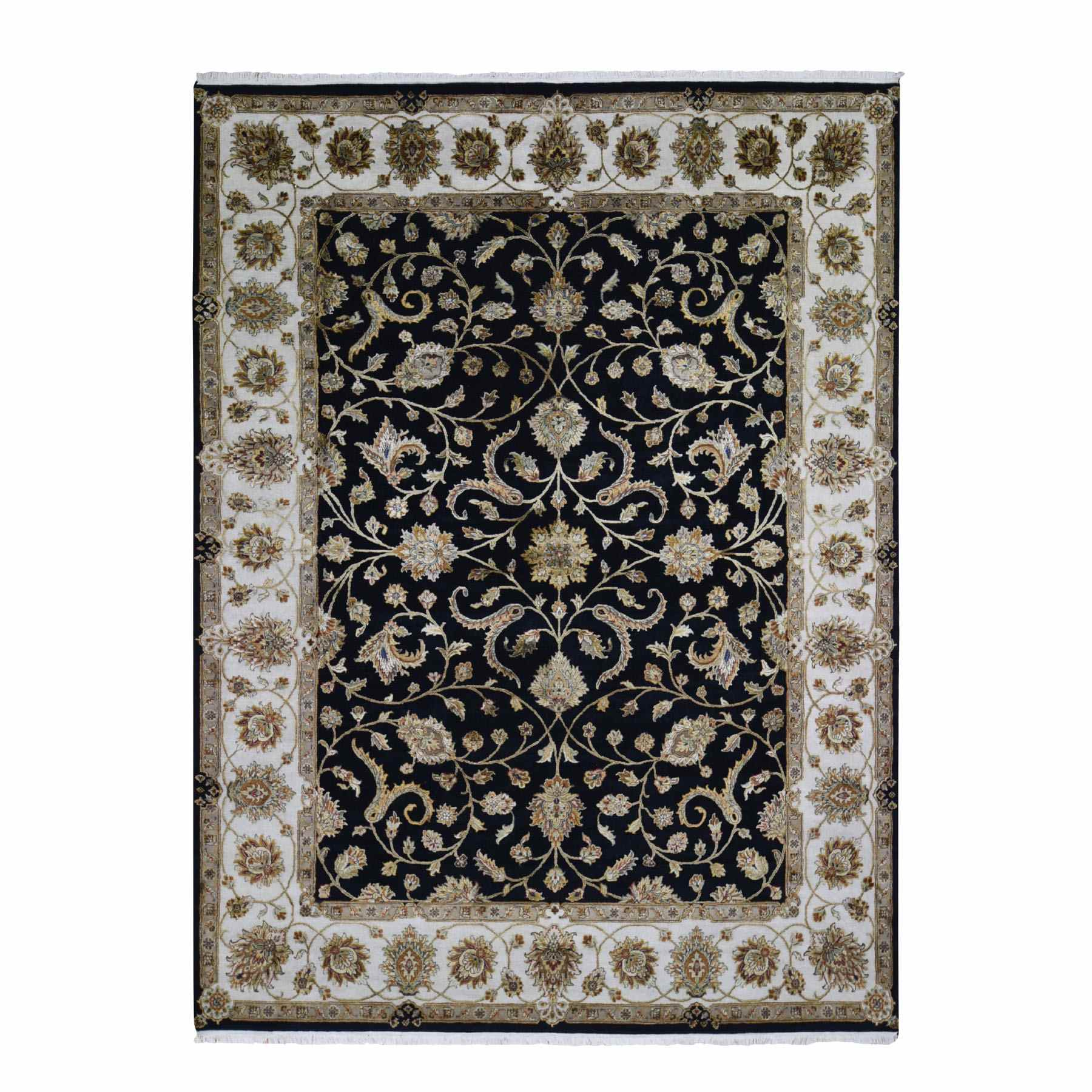 Half Wool And Half Silk Black Rajasthan Hand Knotted Oriental Rug