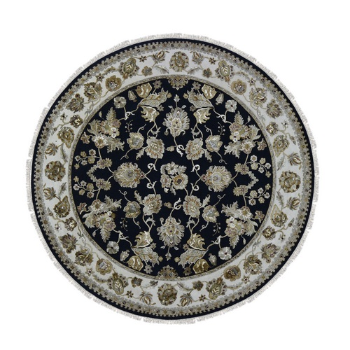 Round Half Wool And Half Silk Black Rajasthan Hand Knotted Oriental Rug