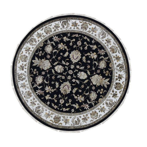 Round Half Wool And Half Silk Black Rajasthan Hand Knotted Oriental