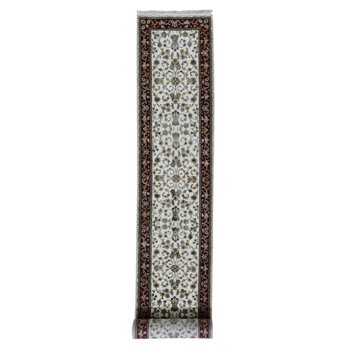 Ivory Hand Knotted Half Wool And Half Silk Rajasthan XL Runner Oriental