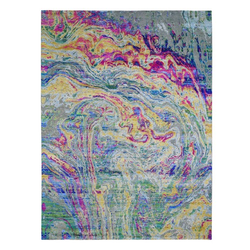 THE LAVA, Colorful Sari Silk With Textured Wool Hand Knotted Oriental Rug