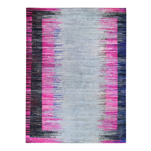 Erased Horizontal Line Design ,Pink Sari Silk With Textured Wool Oriental
