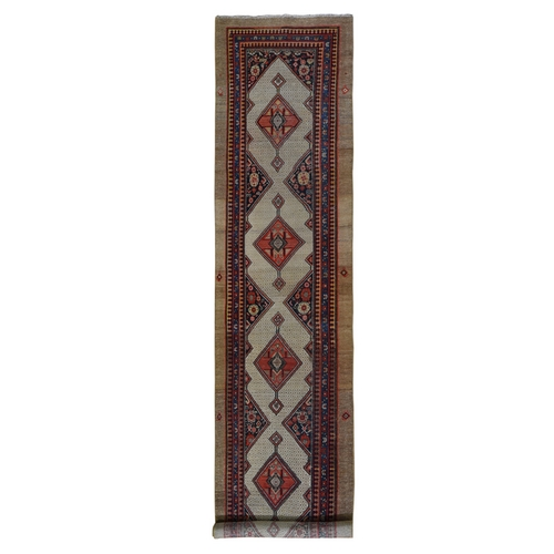 Antique Persian Serab Wide XL Runner Even Wear Good Condition Pure Wool Hand Knotted Oriental