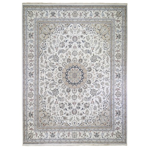 Oversized Ivory Wool and Silk 250 KPSI Nain Hand Knotted Oriental Rug