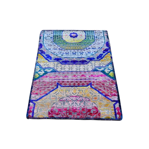 Colorful Sari Silk with Textured Wool Hand Knotted Mamluk Design Oriental Rug