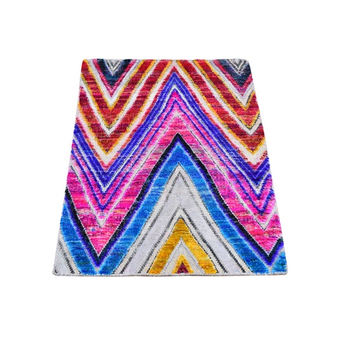 Colorful Hand Knotted Chevron Design Sari Silk with Textured Wool Oriental