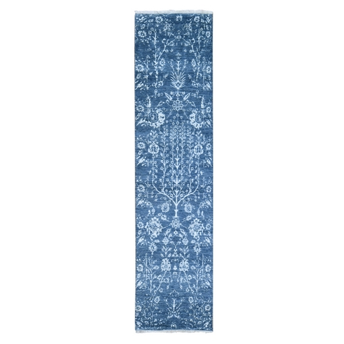 Tone on Tone Oceanic Colors Runner Wool and Silk Hand Knotted Oriental