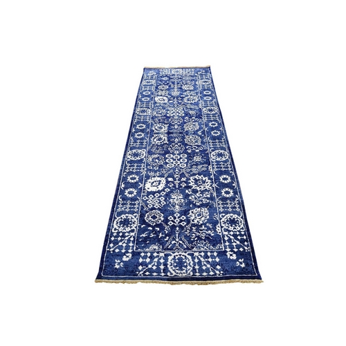 Blue Wool and Silk Tone On Tone Tabriz Runner Hand Knotted Oriental Rug