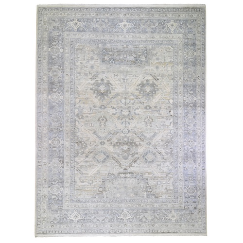 Oversized Ivory Pure Silk and Textured Wool Oushak with Geometric Motif Hand Knotted Oriental