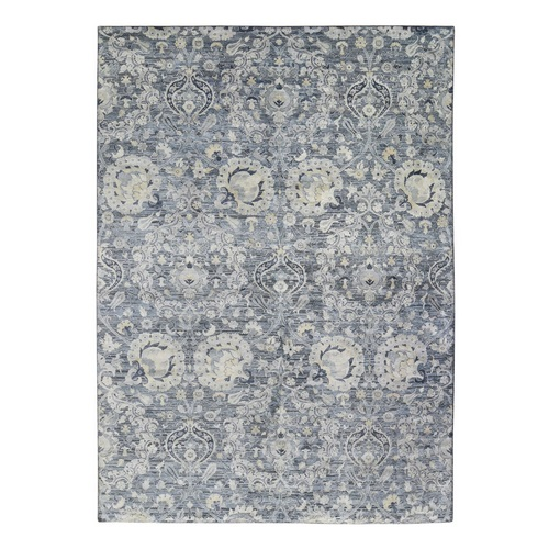 Gray Tulip and Large Blossom Design Pure Silk with Textured Wool Hand Knotted Oriental