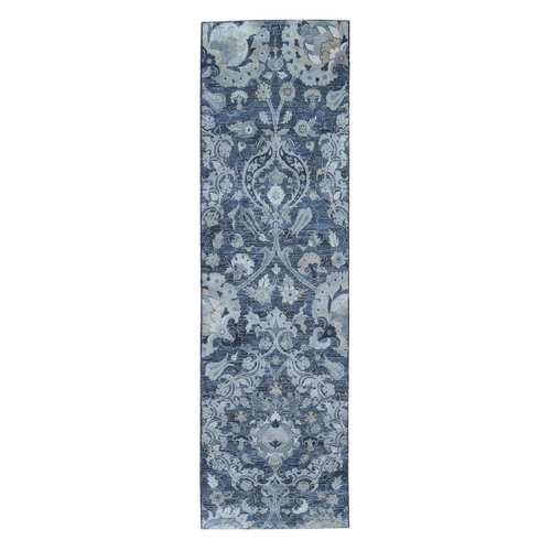 Gray Silk with Textured Wool Palmette Motif Design Hand Knotted Wide Runner Oriental