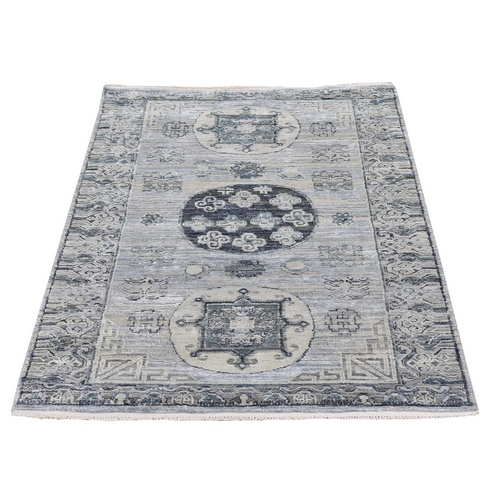 Khotan Design Pure Silk with Textured Wool Gray Hand Knotted Oriental