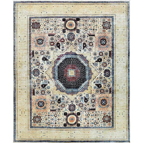 Oversized Ivory Shiny Wool Super Fine Peshawar Mamluk Design with Denser Weave Even Pile Hand Knotted Oriental