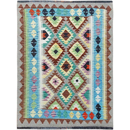 Colorful Afghan Kilim Tribal Design Reversible Organic Wool Hand Woven Oriental