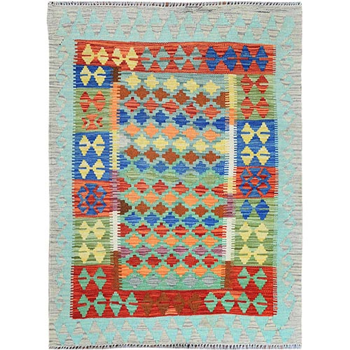 Colorful Geometric Design Reversible Flat Weave Afghan Kilim Hand Woven Vibrant Wool Oriental
