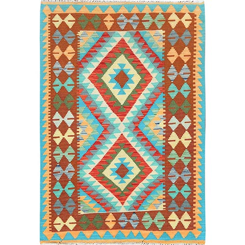 Colorful Afghan Kilim Tribal Design Reversible Shiny Wool Hand Woven Oriental